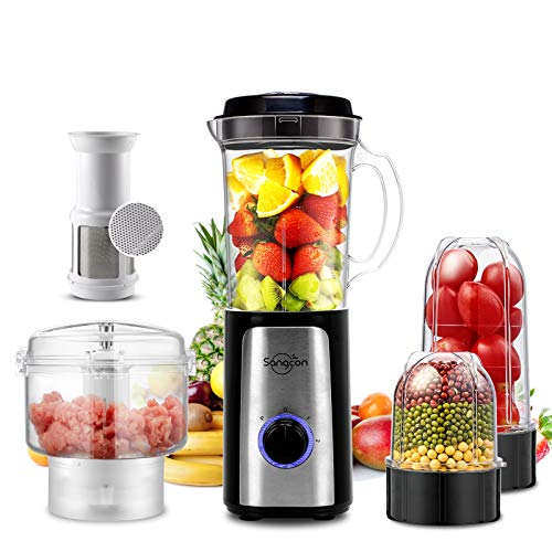 5 IN 1 Food Processor High Speed Smoothie Blender Small Food Processor for Shakes and Smoothies with 34Oz Pitcher,Juice Cup,Coffee Grinder Cup,and Chopper Vegetable Meat Choppers for Puree,Fruit Salad