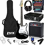 LyxPro Full Size Electric Guitar Black with 20w Amp Package, Mackie Onyx Artist 2-2 Audio/Midi...
