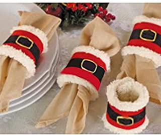 Amberetech 4pcs Christmas Napkin Rings Holder,Santa Belts Design,Party Dinner Table Decor