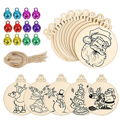 AirSMall 60Pcs dischi in legno con foro matrimonio natalizio rotondo decorativo albero in legno disco Natale cerchi in legno non trattato con campanelli colorati Corda di iuta per centrotavola