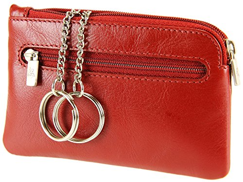 Visconti Unisex Keyring Leather Wallet Purse Key Holder Case Coin Pouch MZ19 Red