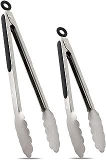 "Hotec Stainless Steel Kitchen Tongs Set of 2 - 9"" and 12"", Locking Metal Food Tongs Non-Slip Grip (Black)"