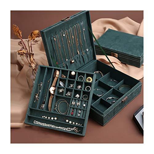 Joyero con tapa de vidrio Joyería caja verde de la franela de la vendimia, pendientes de múltiples funciones, collares, pendientes caja de almacenamiento, Gran Capacidad joyería caja, regalo for las m