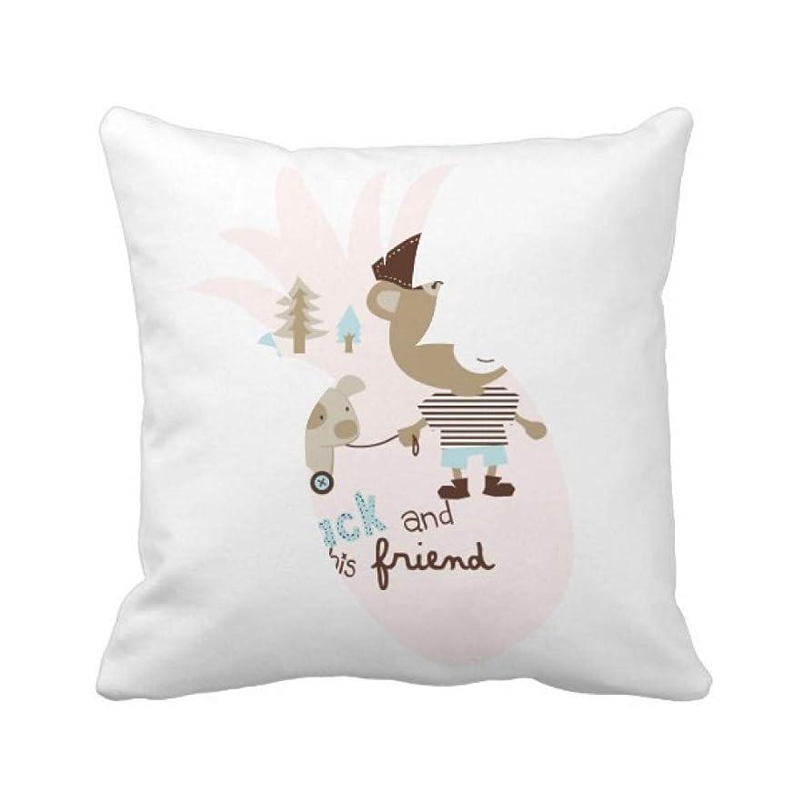 保有者関税製造漫画の動物のピンク パイナップル枕カバー正方形を投げる 50cm x 50cm