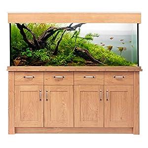 Oak Large Aquarium Fish Tank Oak Style (150cm / 300L, Oak Style) 4 storage drawers for keeping aquatic equip...