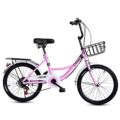 Giow Commuter Bicycle Ultra Light Portable Adult Women's Folding Student Car 16 inch,Pink-16 inch