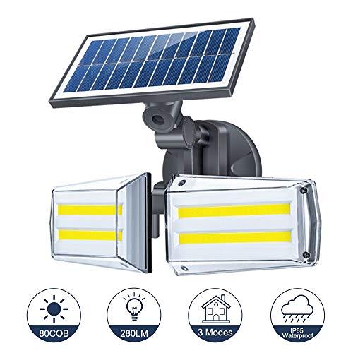 Solarlampen für Außen mit Bewegungsmelder, 80 LED Garten Solarleuchten mit 3 Modi, IP65 Wasserdicht 20W Solare Leuchte, 270° Frei Einstellbar Solarleuchte Aussenlampen für Garten