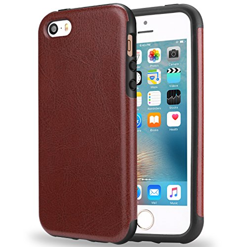 TENDLIN Compatible with iPhone SE Case (2016) / iPhone 5S Case Leather Back Flexible TPU Silicone Hybrid Arc Bumper Shockproof Case Designed for iPhone 5/5S/SE (Brown)