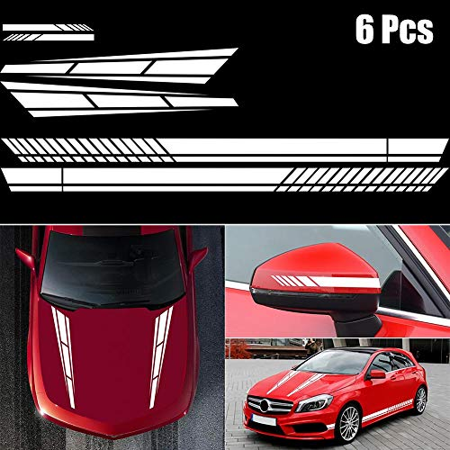 ZYHZJC Pegatinas Laterales de Coche, Raya, película de Vinilo para Coche, Pegatina para Espejo retrovisor, Accesorio de Ajuste de Coche para Audi para BMW para Ford para Volkswagen