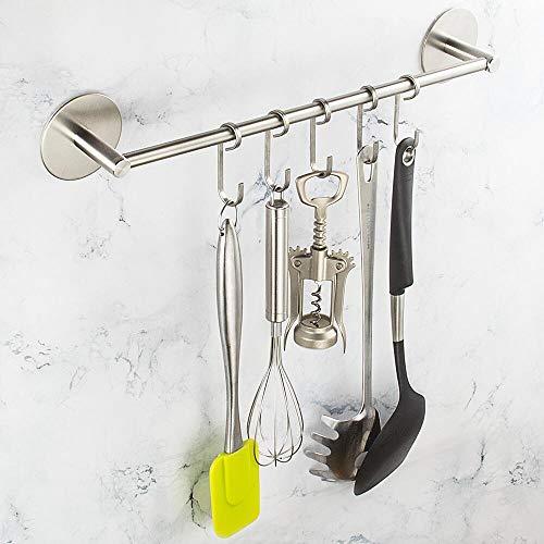 Selbstklebender Handtuchhalter Edelstahl Handtuchstange gebürstetem Handtuchstange Ohne Bohren Handtuchhalter stange Wandmontage Badezimmer 40CM (Rundschreiben)