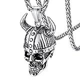 Viking Awe Helmet Horn Necklace for Men Stainless Steel Nordic 3D Odin Helmet Skull Pendant with Sturdy Wheat Chain Vikings Stuff Jewelry