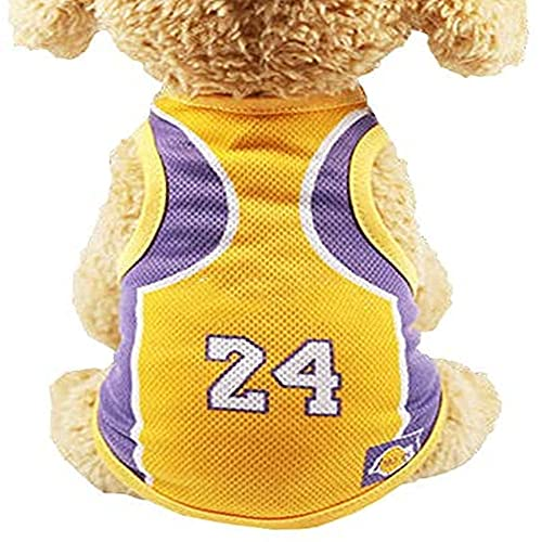 Dog Sweatshirt Pet T-Shirt, Dog Summer Apparel Puppy Pet Clothes for Dogs Cute Soft Vest Football Team (S 9.8' L, Lakers)