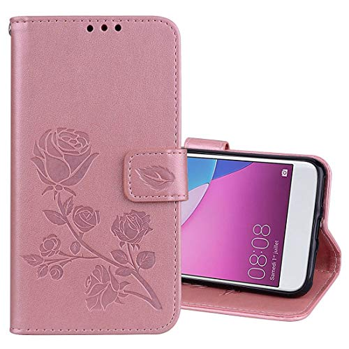 LISUONG MCDC AYDD para Huawei P9 Lite Mini Rose en Relieve Caja de Cuero de la PU de la PU con el Soporte y Las Ranuras y la Cartera (Verde) (Color : Rose Gold)