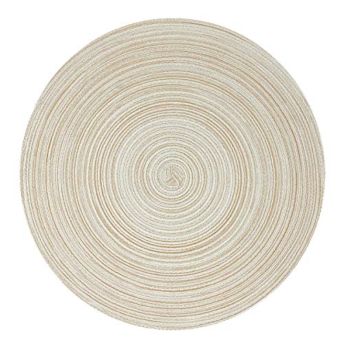 Wrapables 15' Woven Round Placemats (Set of 6), Beige