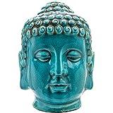 something different Algo Diferente de cerámica Cabeza de Buda Figura Decorativa, Color Azul