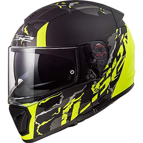 LS2 FF390 Doppia Visiera Casco Integrale Moto Scooter Motorino Casco Moto Donna e Uomo Matt Hi Vis Yellow M (57-58cm)