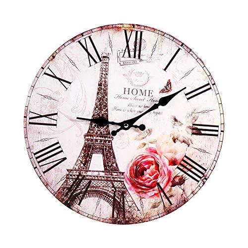 Reloj de Pared, Estilo Antiguo Vintage París Torre Eiffel Reloj Reloj Redondo Reloj de Pared de Madera Cocina Decoración del hogar para Lugares públicos/Salones/Oficinas/Estudio/Dormitorio