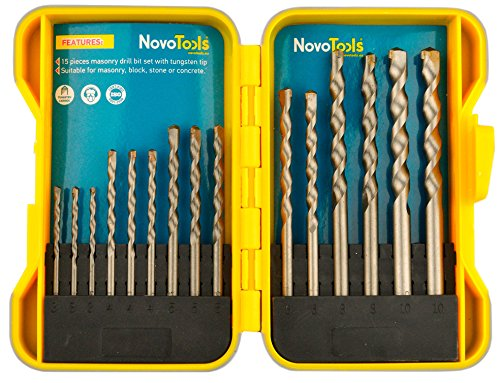 NOVOTOOLS Masonry Drill Bit Set of 15 pcs. Titanium Coated High Speed Steel