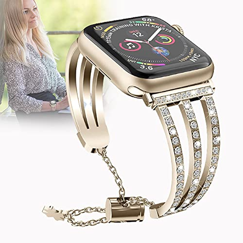Correa Compatible con Apple Watch Correa 38 mm 42 mm 40 mm 44 mm, Juego de Diamantes de Acero Inoxidable Correa de Reloj de Repuesto para iWatch Series SE / 6/5/4/3/2/1,42mm/44mm