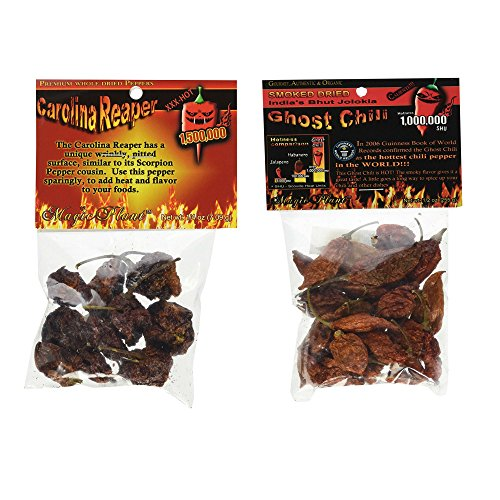 Dried Carolina Reaper Pepper Pods (1/4 oz) with Smoked and Dried Bhut Jolokia Ghost Chili Pepper Pods (1/2 oz)