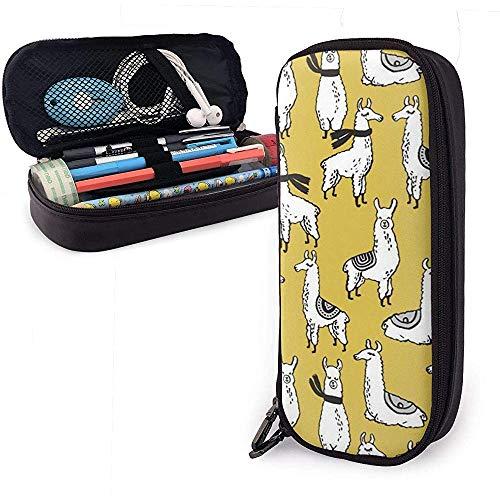 Lamas - Senf-Federmäppchen Großes Make-up-Stiftbeutel Leder Haltbares Studenten-Briefpapier mit doppeltem Reißverschlusshalter Box Organizer