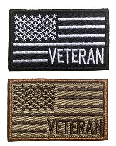 Antrix 2 Pack Tactical USA US American Flag Veteran Patch Fully Embroidered US Army Navy Air Force Coast Guard Veteran Military Morale Applique Emblems Badges Patch- Veteran