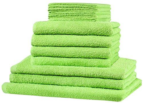 12 tlg. Frottier Handtuch XXL SET: alle Größen abgedeckt! - 5x Gästetücher, 4x Handtücher, 2x Duschtücher, 1x Badetuch - 100% Baumwolle 10 Top Farben (Apfel grün)
