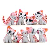 9 Pcs Cat Figurines, Chi s Sweet Home Cat Animal Collection Toy for Miniature Fairy Garden, Cake Topper Decoration (Pink)