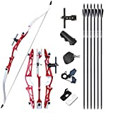 Tongtu 68' 30LBS Takedown Recurve Bow and Arrows for Adult Beginners Aluminum Alloy Bow Riser Archery Set Hunting Bow Kit Right Hand for Targeting Practice Competition