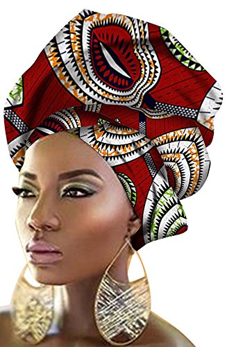 Ababalaya Women's Extra Long African Traditional Print Head Scarf Wrap Tie 35×43 inch