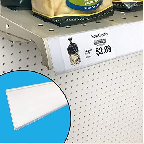 "Shelf Label Strips, 50 Pack Self Adhesive 1.5""H Shelf Label Holder Price Tag Strips for Metal Wood or Plastic Gondola Shelf, PVC Plastic Clear Front/White Back Sign Strip for 48"" Long Shelf"