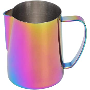 Alinory Frothing Cup Colorful 600ml Stainless Steel Titanize Coffee Pitcher Milk Frothing Cup Jug for Latte Art
