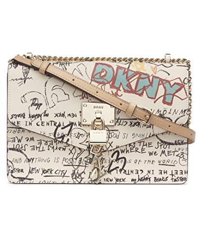 DKNY Damen ELISSA LG SHOULDER BAG Umhängetasche, Weißes ikonisches Graffiti, Einheitsgröße