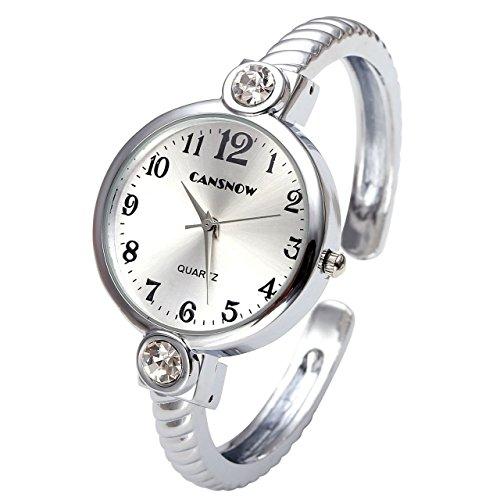 JSDDE Uhren,Elegant Damen Strass Armreif Armbanduhr Spangenuhr Armspange Armkette Uhr Analog Quarzuhr,Silber