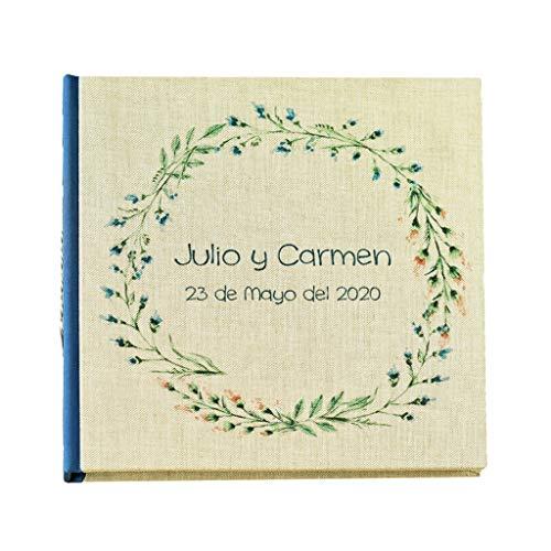Libro de firmas personalizado | Nombre y fecha grabado en portada 22x22 cm | 80 hojas papel reciclado o blanco | Libro de invitados artesanal para boda comunión bautizo cumpleaños jubilación