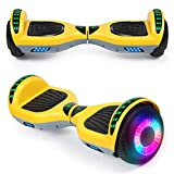 SISIGAD Hoverboard with Bluetooth Speaker and Led Lights, Smart 6.5 Self-Balancing Electric Scooter for Kids and Teenagers