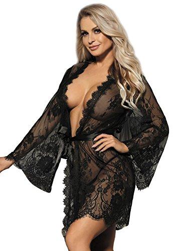ohyeahlady Kimono Donna in Pizzo Babydoll Pigiama Sexy Corto Traparente con Cintura con Perizoma Scolla V Camicia da Notte Taglie Forti Floreale(Nero,3XL)