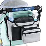 VIMUKUN Stroller Organizer Non-Slip Stroller Cup Holder Baby Travel Accessories - Stroller Accessory for Smart Parents with Shoulder Strap, Compatible with Uppababy, BOB, Baby Jogger (Grey)