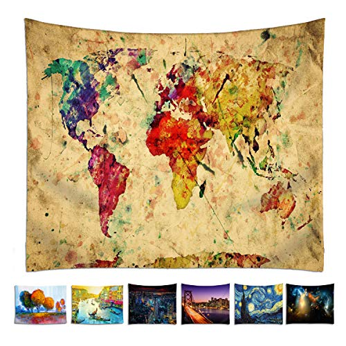 omnihabits Tapiz, paño de Pared, tapicería, Colcha, Manta Impression Detallada (World Map, 130 x 150 cm)