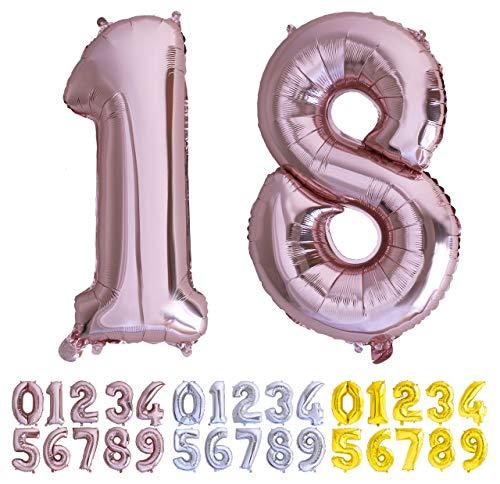 Globo numero 18 81 Oro Rosa. Globos Gigante números 1 8 del 0 al 100 fiestas cumpleaños decoración fiesta aniversario boda tamaño grande 70 cm con accesorio para inflar aire o helio (18/81 Oro Rosa)