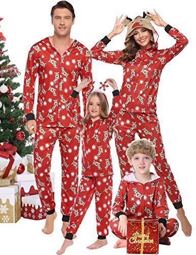 Hawiton Pigiama Natale per Tutta la Famiglia Set Invernale, Poliestere Coordinati Manica Lunga Cervo Indumenti da Notte Vestiti per Donna Uomo Bambini