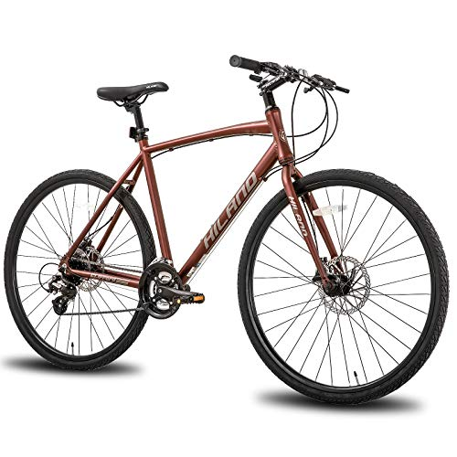Hiland Road Hybrid Bike Urban City Commuter Bicycle with Disc Brake for Men Comfortable Bicycle 700C Wheels 24 speeds Bikes Red 57cm