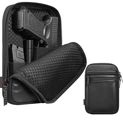 FINPAC Concealed Carry Gun Pouch, Soft Pistol Case Fanny Pack Waist Belt Firearm Bag with Holster for Handgun, Air Gun, Men, Women (Black)