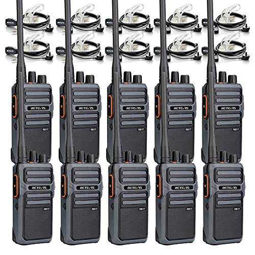 Retevis RB17 Walkie Talkie with Earpiece,Heavy Duty 2 Way Radio Rechargeable,4400mAh Large Capacity Battery Handsfree Emergency Alarm,Portable Two Way Radios for Adults School Business Duty (10 Pack)