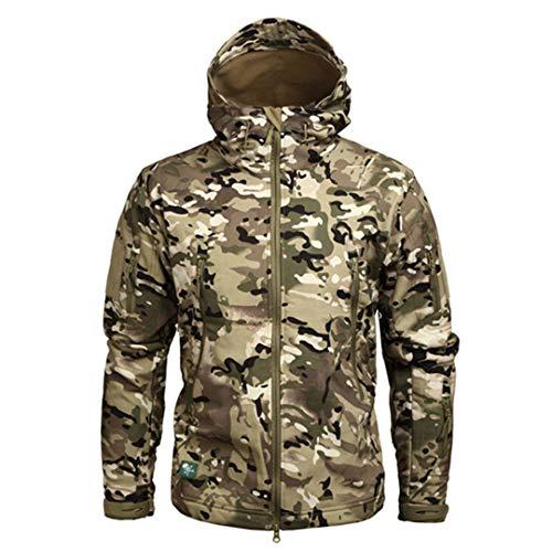 Kevents Chaqueta con Capucha Camuflaje para Hombres Militares Chaqueta Piel tiburón Softshell Abrigo táctico del ejército CP 4XL