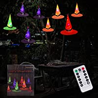 Amadecohome 8-Pieces Glowing Witch Hats String Light Battery Operated Halloween String Lights Halloween Decorations