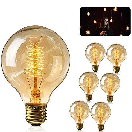 AVNICUD Vintage Edison Glühbirne, E27 Edison Glühbirnen Filament Lampe Retro Globe Glühlampe,Warmweiß 2300K(40W) Dekorative Retro Beleuchtung Leuchtmitte (6 Pack)