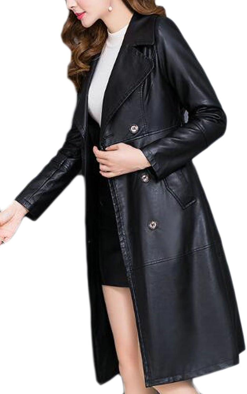 GAGA Women Winter Plus Size Double Breasted PU Leather Long Coat Jacket