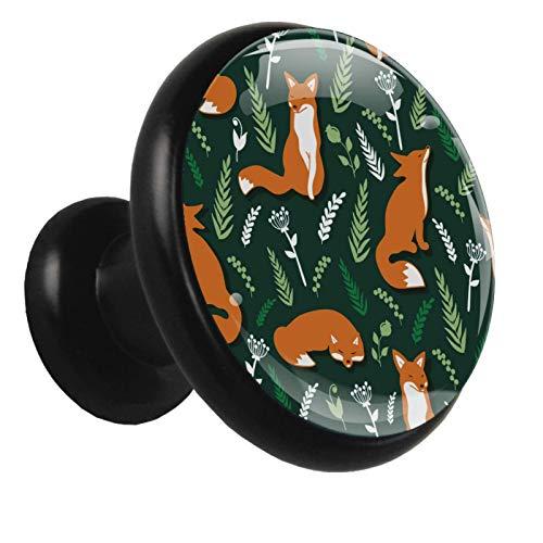 Pomo de armario Lindos Zorros Mimbre Verde Pomos Redondos, 4 x Tirador de Cocina, Tiradores Muebles para Armario, Puerta Armario, Gabinete, Cajón, Puertas de Muebles, Zapateros 32mm