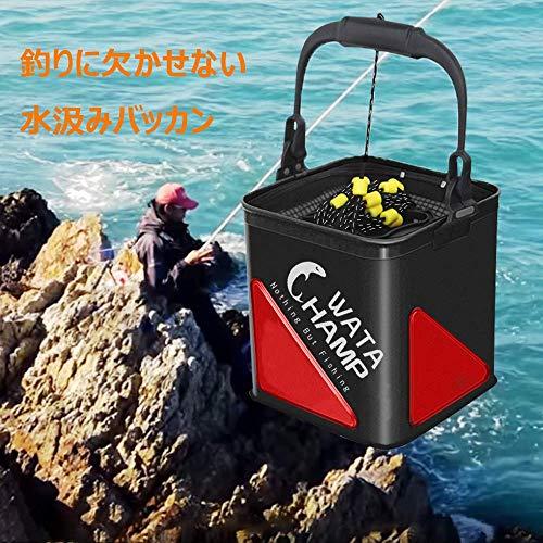バッカン活かし水くみバケツ折りたたみバケツロープ(8m)メッシュカバーホルダー付きEVA5.5L/8.0L釣り防災備蓄品持ち運び便利レッド/ブラック(ブラック(18cm/5.5L))